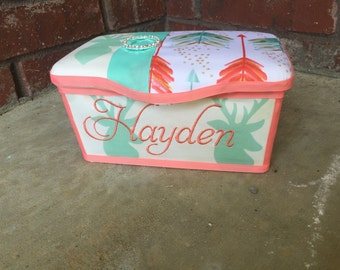 Adorable Coral and Mint Deer Diaper Wipes Tub