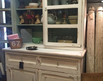 Vintage Farmhouse White Distressed Cupboard Cabinet