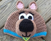 Child's SCOOBY DOO Inspired BROWN Crochet Hat - You Pick Size: Newborn to 10yrs - Cute Photo Prop or Winter Hat