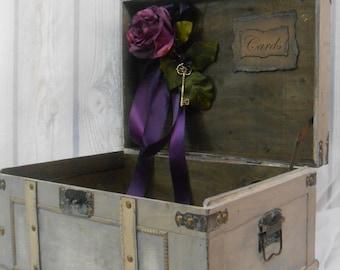 Vintage Style Wedding Card Trunk / Plum Wedding Card Box / Large Wedding Trunk Card Holder / Vintage Wedding Card Box / Plum Wedding Decor