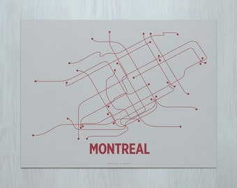 Montreal Screen Print- Chip Gray/Red