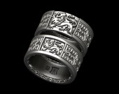 Lion Celtic knot band - wide - decorative edge in Sterling Silver