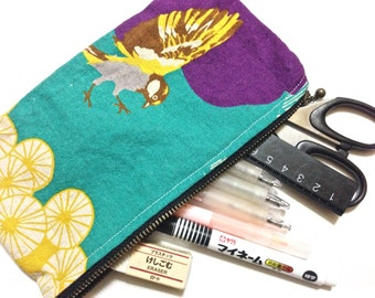 Bird Zippered Pouch in Teal and Purple, Pencil Case in Colourful Echino Japanese Fabric