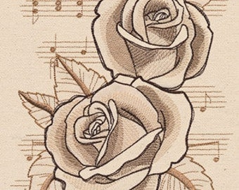 Beautiful Music Roses Embroidered Flour Sack Hand/Dish Towel