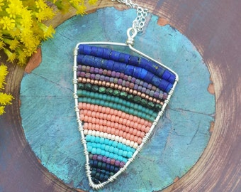 Beaded Abstract Pendant Necklace, Lapis Lazuli, Glass Beads, *Ready-to-ship*