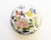 Vintage White Enameled Cloisonne Trinket Dresser Box Lotus Flower Butterfly