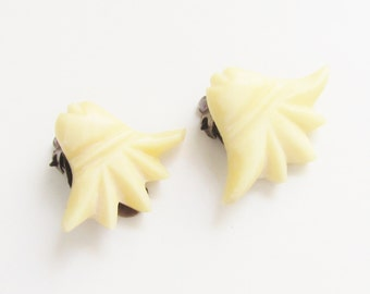 Vintage Carved Bone Lotus Flower Earrings Clip on