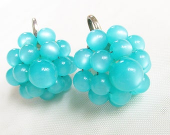 Vintage Blue Moonglow Lucite Beaded Cluster Earrings 1950s