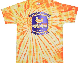 Woodstock Shirt Vintage tshirt 1994 Saugerties 25th Anniversary Concert Tie Dye tee 1990s Original rock Festival