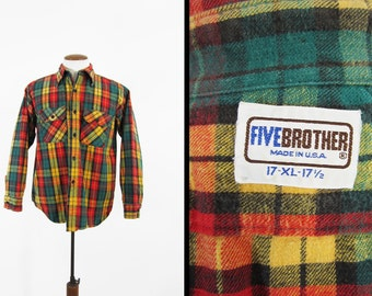 Vintage Five Brother Flannel Shirt Red Cotton Long Sleeve Made in USA - Size XL