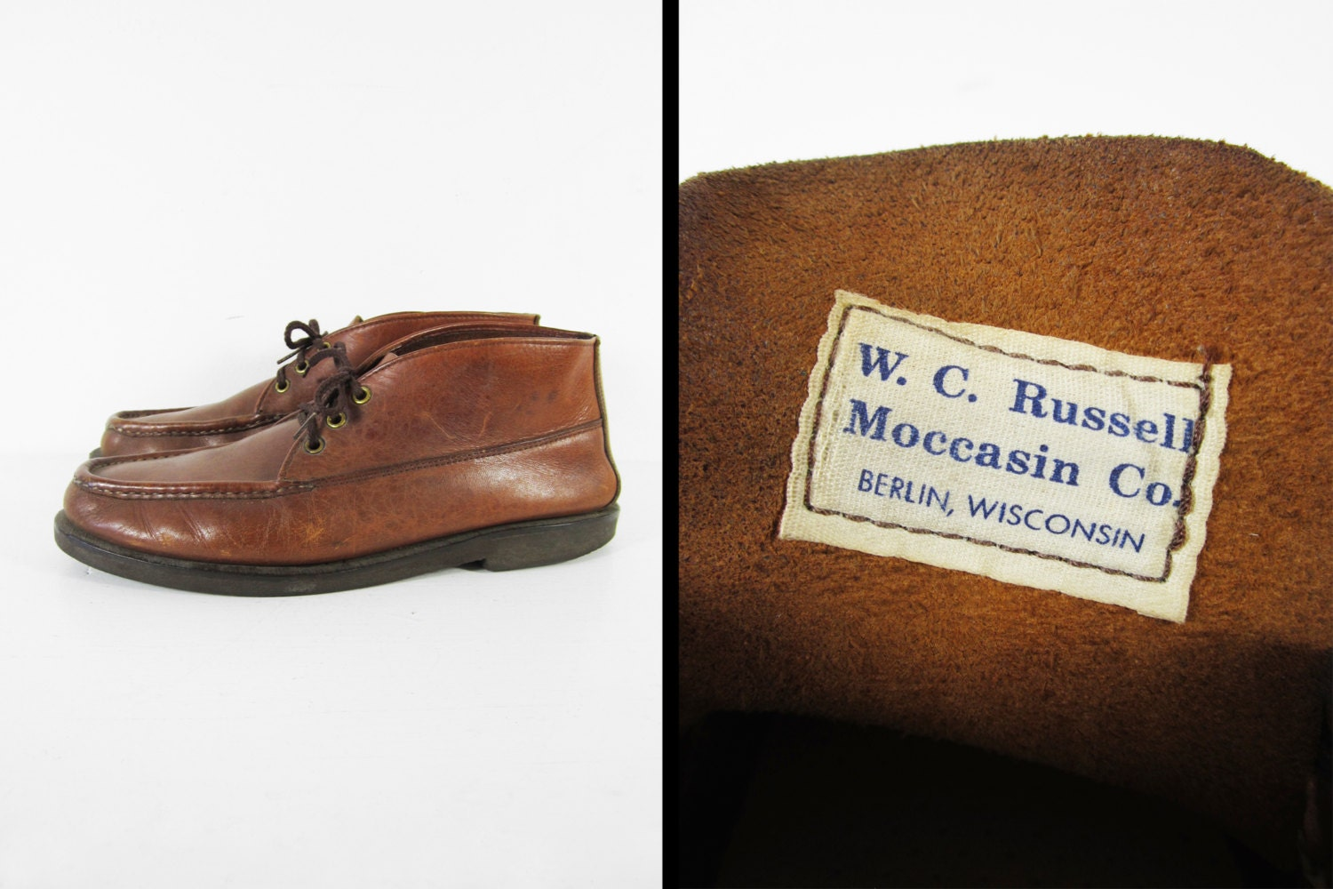 vintage wc russell moccasins 50s ankle moc toe boots leather. Black Bedroom Furniture Sets. Home Design Ideas