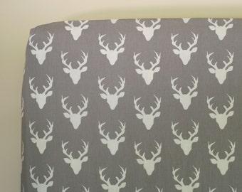 Woodland Nursery Bedding, Deer Crib Bedding, Buck Crib Sheets, Gray Changing Cover, Antlers Baby Nursery Bedding Hello Bear Buck Forest Mist