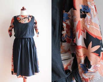 Vintage 1980's Pinafore Dress with Abstract Print - Cotton Dress - Size S