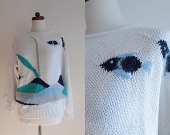 Vintage Sweater - 1980's Malina Wong Sweater with Fish - Size M