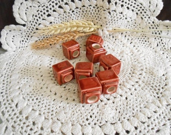 8 Sm Glazed Ceramic Macrame Beads-Square Shaped-Handcrafted-Dk Brown-Roasted Pepper-BX2