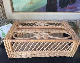 Tissue box. Bohemian rattan tissue box. Boho glam bathroom office space.
