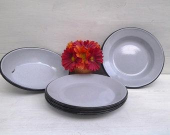 Vintage Gray Enamelware Dish Set