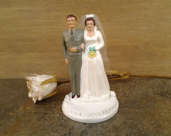 Vintage military wedding cake topper - Army cake topper - Coast Novelites - 50's cake topper - chalkware - soldier wedding - Army wedding