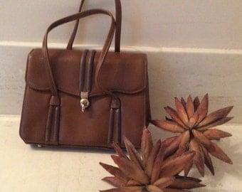 Vintage Sixties Zenith Handmade Caramel Leather Purse, Retro Mid Century Handbag, Double Strap Summer Pocketbook