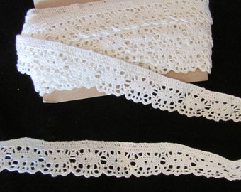 Vintage Cotton Nylon Light Ivory Lace, Wedding Lace, Bridal Lace, Country Lace, Polyester Lace