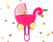 Baby Carriage Pink Felt Applique Planner Paper Clip | Bookmark Journal Marker. Baby Calendar Planner accessories Baby Shower gifts mom to be