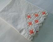 Vintage Cotton Pillowcase / Peach Pillowcase / Apricot / Vintage Lace Pillowcase / Peach and White /