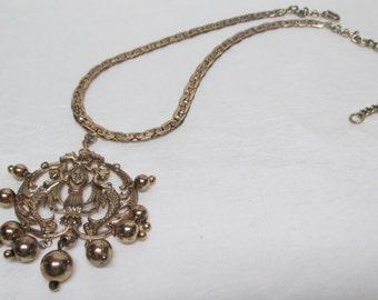 Nettie Rosenstein Vintage 40s Sterling Vermeil Mermaid Pendant Necklace