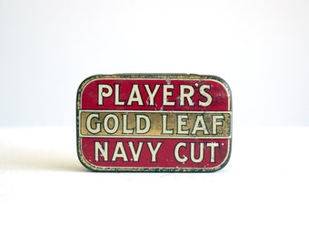 vintage original player's gold leaf navy cut tobacco tin