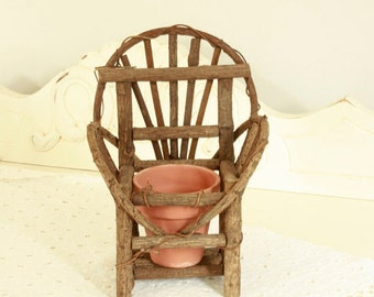 One(1) Twig Chair - Twig Planter - Small Wood Doll Chair - 1980's Garden Art - Nature, Cottage or Cabin Decor - Vintage Doll Collectible
