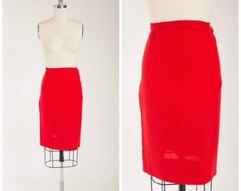 50s Vintage Skirt  • Cherry Pie • Red Wool Vintage 1950s Pencil Skirt Size Small