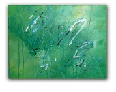 "Abstract Painting, Contemporary Christian Art ""Promised Land"", Green Blue Wall Art 11x14"