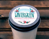 Wintergreen Soy Wax Candle in 8 oz. Jelly Jar - Evergreen, Balsam, Fir, Christmas, Winter, Holiday, Housewarming, Home, Hostess Gift