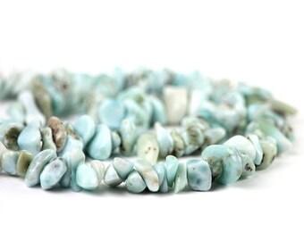 Larimar Smooth Chip Pebble Beads 1 Strand Natural Aqua Blue White Exotic Gemstones