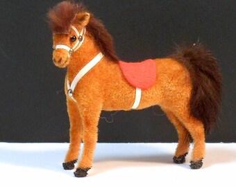 Miniature Kunstlerschutz Toy Flocked Horse Stallion Handwork W. German Vintage 1970s