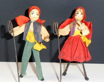 Miniature Crepe Paper Dolls Boy Girl Dollhouse Miniatures 3 Inch Dolls Vintage 1930s Dressed Dolls