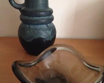 Sheurich west germany teal black vase