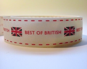 Best of British ribbon, Berisford vintage Union Jack ribbon, 25mm ribbon, British craft ribbon,