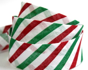 Holiday bias binding, Christmas bias binding, candy cane stripes, candy stripes bias tape, festive bias binding, UK haberdashery supplies