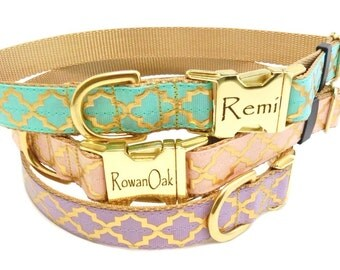 Personalized Dog Collar,Moroccan Print, Gold Quatrefoil, Fancy Dog Collar