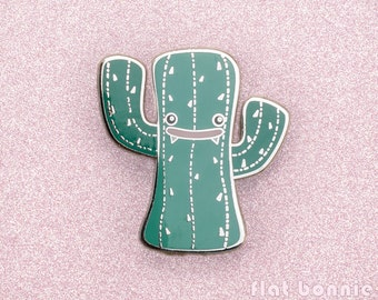 Cactus enamel pin, Kawaii cactus backpack pin, Cute succulent jacket pin metal badge, Hard enamel pin cloisonne hat pin gift, Flat Bonnie