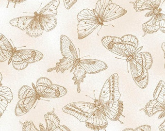 Butterfly Botanical - Tan Butterflies by Jane's Garden from Henry Glass