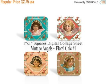 ON SALE Vintage Angels, 1 Inch Square, Digital Collage Sheet, 1 x 1 Inch Images, Floral Chic, For Glass Tiles, Pendants, Magnets, Cabochon,(