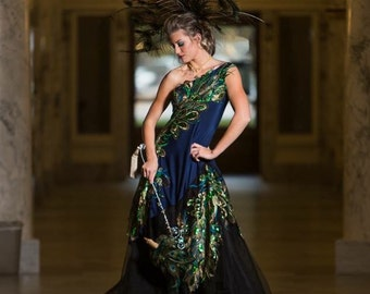 RESERVED - The Peacock Gown - Sequin One Shoulder Ballgown in Navy and Black