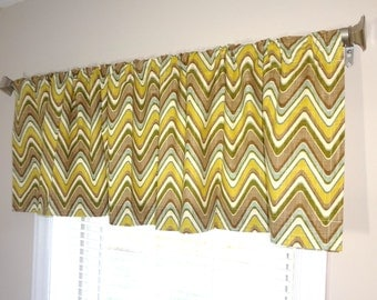 Curtain Valance Topper Window Treatment 52x15 Green Brown Multi Color Zig Zag Chevron Valance