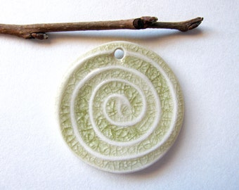 Sea Foam Green Spiral Pendant Stoneware Clay