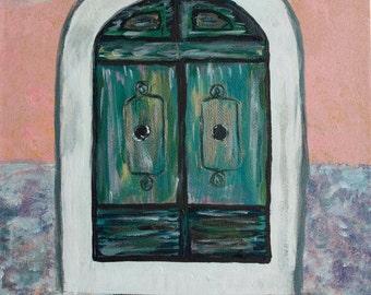 """Green door painting - Original painting """"Secret door 3"""" - pink walls, turquoise, white, black - amazing door original art - Travel series"""