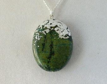 Silver Leaf Stone Pendant - Jadeite