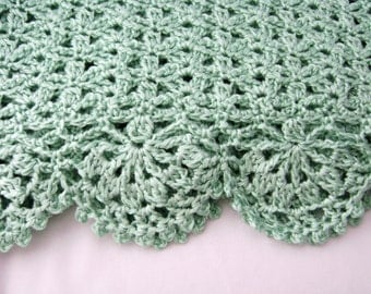 Mint Green Baby Afghan Blanket Crocheted Ready to Ship