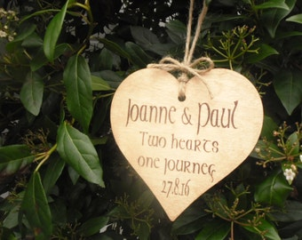 Rustic Wedding Sign Gift Personalised Painted & Waxed Wooden Heart