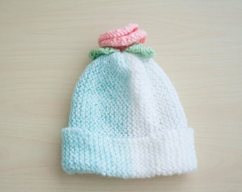 Flowered baby hat